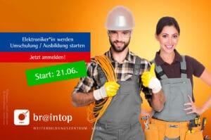 WeiterbildungsZentrum für Koeln Bonn Ruhrgebiet. BRAINTOP zertifizierter Anbieter. Umschulung/Ausbildung zum/zur Elektroniker*in 2021